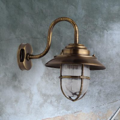 Antique Brass Exterior Swan Neck Wall Lantern