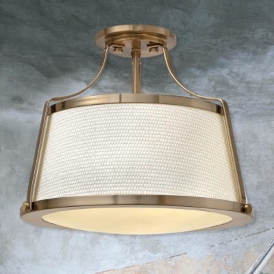 Antique Brass Fabric Semi Flush
