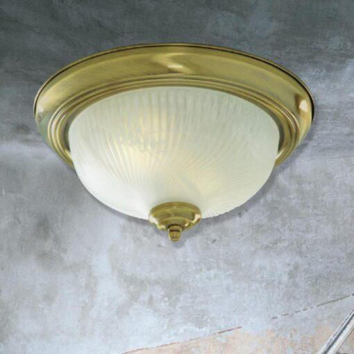 Antique Brass Frosted Glass Flush Light