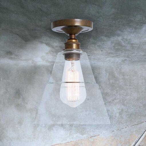 Antique Brass Glass Cone Flush Light