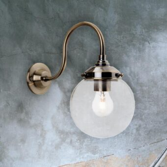 Antique Brass Glass Globe Wall Light