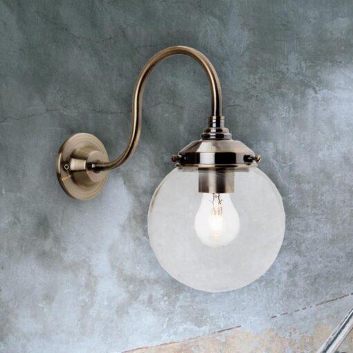 Antique Brass Glass Globe Wall Light