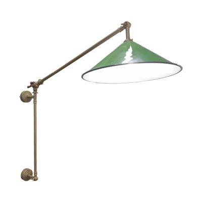Antique Brass Green Coolie Enamel Wall Light