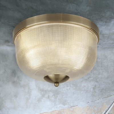 Antique Brass Holophane Glass Flush Light