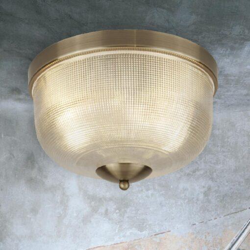 Antique Brass Holophane Glass Flush Light