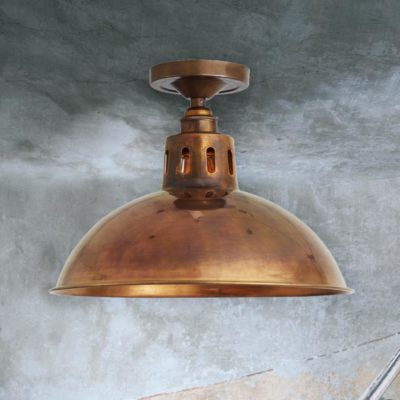 Antique Brass Industrial Dome Flush Light