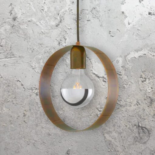 Antique Brass Industrial Ring Pendant Light