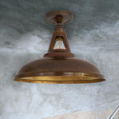Antique Brass Industrial Spun Metal Flush Light