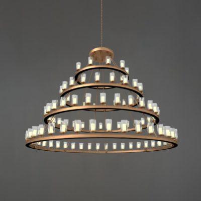 Antique Brass Industrial Tiered Chandelier