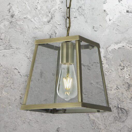 Antique Brass Lantern Pendant Light