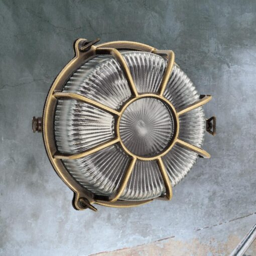 Antique Brass Marine Round Bulkhead Light
