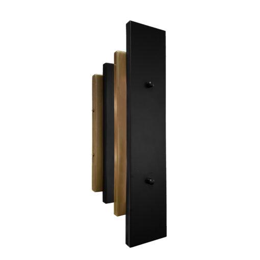 Antique Brass Matt Black Art Deco Panel Wall Light