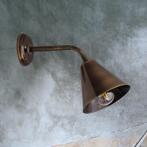 Antique Brass Minimal Industrial Wall Light