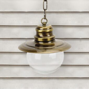 Antique Brass Nautical Clear Globe Lantern Pendant Light
