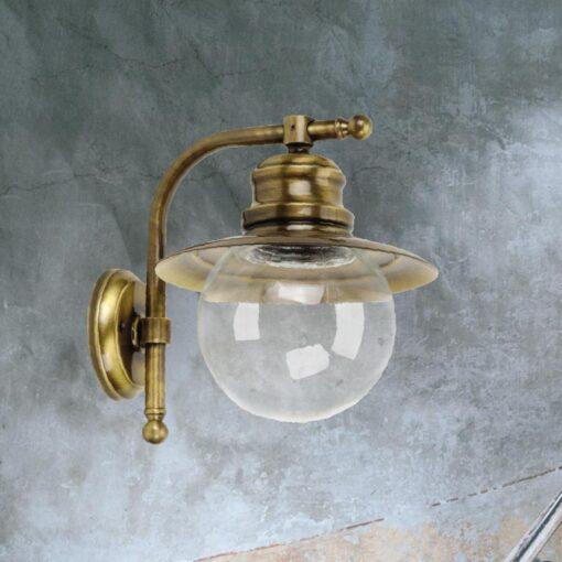Antique Brass Nautical Globe Wall Lantern