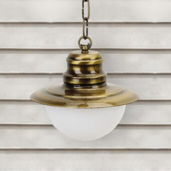 Antique Brass Nautical Opal Globe Lantern Pendant Light