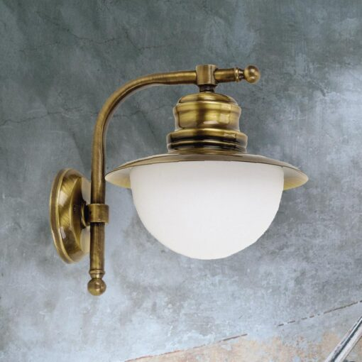 Antique Brass Nautical Opal Globe Wall Lantern