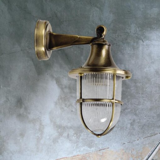 Antique Brass Nautical Outdoor Wall Lantern