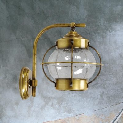Antique Brass Nautical Seeded Glass Wall Lantern