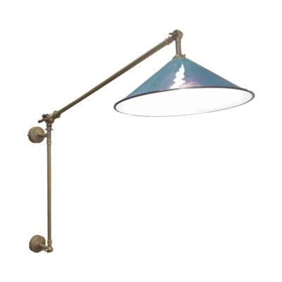 Antique Brass Navy Coolie Enamel Wall Light