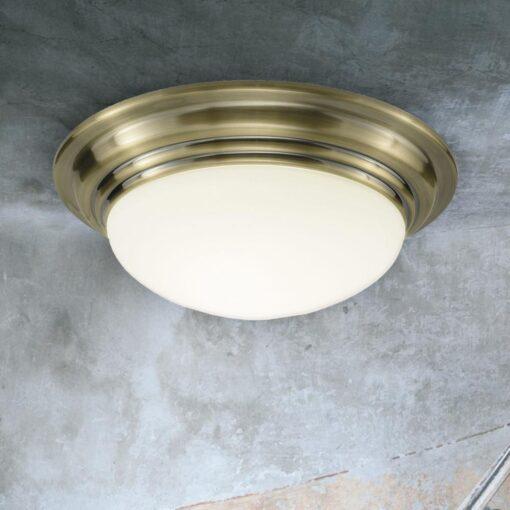 Antique Brass Opal Flush Ceiling Light