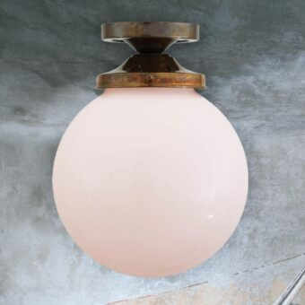 Antique Brass Opal Globe Flush Light 200mm