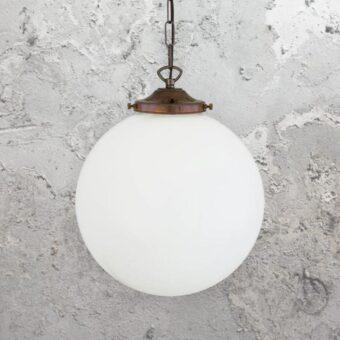 Antique Brass Opal Globe Pendant Light 300mm
