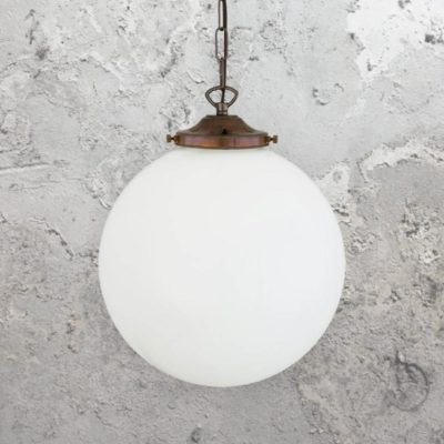 Antique Brass Opal Globe Pendant Light 300mm