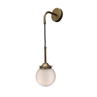 Antique Brass Opal Hanging Globe Wall Light