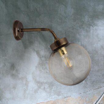 Antique Brass Outdoor Globe Wall Lantern