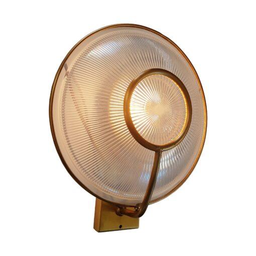 Antique Brass Prismatic Glass Dish Wall Light