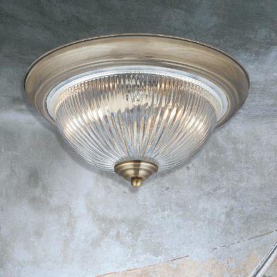 Antique Brass Prismatic Glass Flush Light