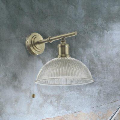 Antique Brass Prismatic Glass Wall Light