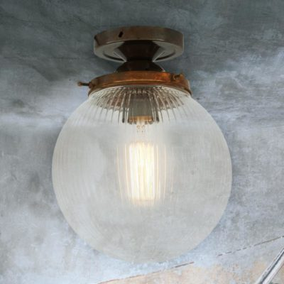 Antique Brass Prismatic Globe Flush Light 200mm