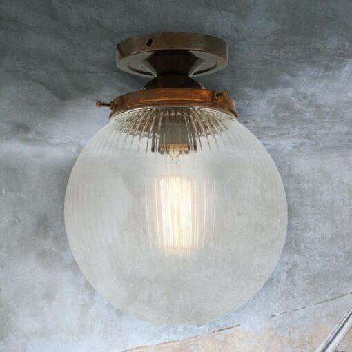 Antique Brass Prismatic Globe Flush Light 200mm
