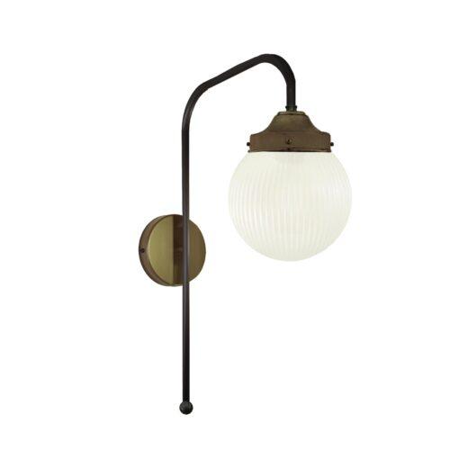 Antique Brass Prismatic Globe Wall Light