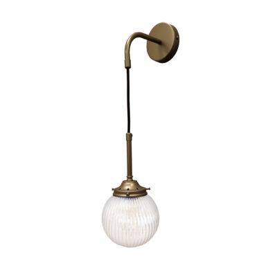 Antique Brass Prismatic Hanging Globe Wall Light