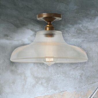 Antique Brass Ribbed Glass Dome Flush Light