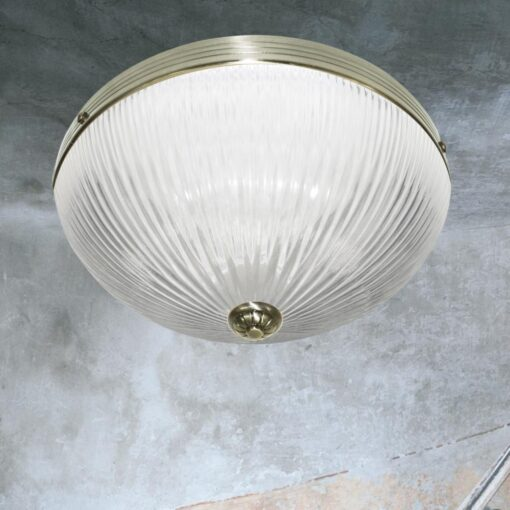 Antique Brass Ribbed Glass Flush Light