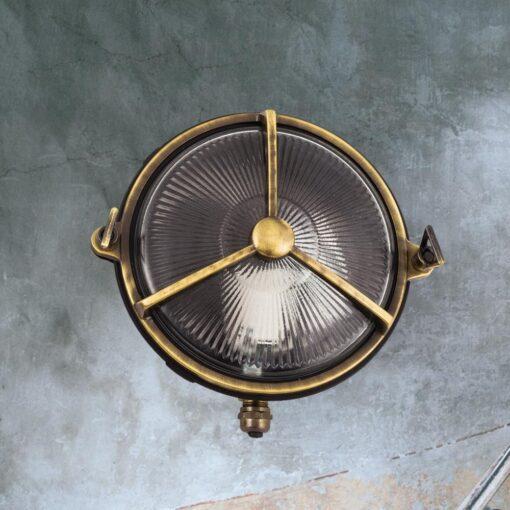 Antique Brass Round Bulkhead Light