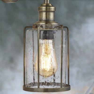Antique Brass Seeded Glass Wall Light