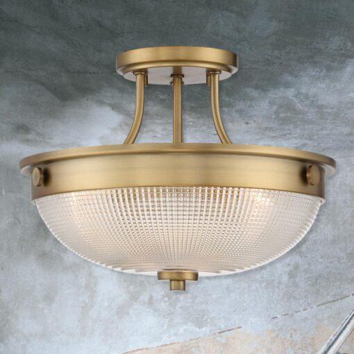 Antique Brass Semi Flush Up-Lighter