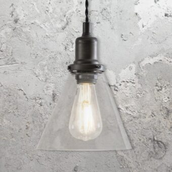 Antique Brass Small Cone Glass Pendant Light