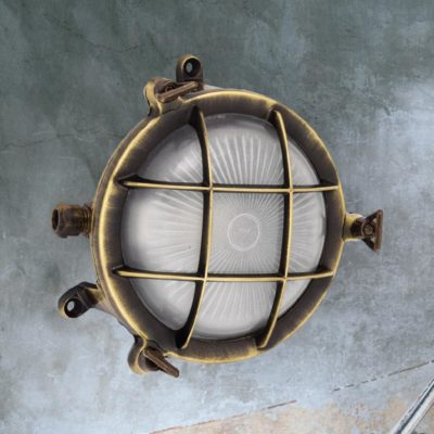 Antique Brass Small Frosted Bulkhead Light