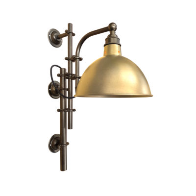 Antique Brass Steampunk Wall Light with Brass Shade