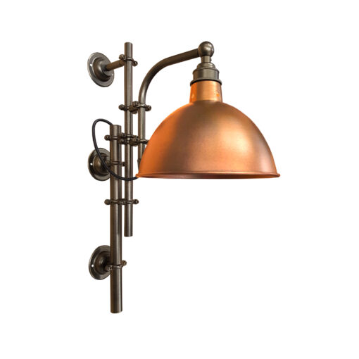 Antique Brass Steampunk Wall Light with Copper Shade