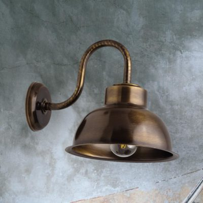 Antique Brass Swan Neck Dome Wall Light