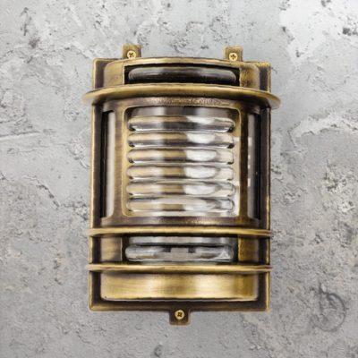 Antique Brass Traditional Lantern Bulkhead Light