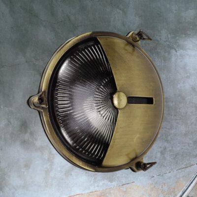 Antique Brass Vintage Round Bulkhead Light
