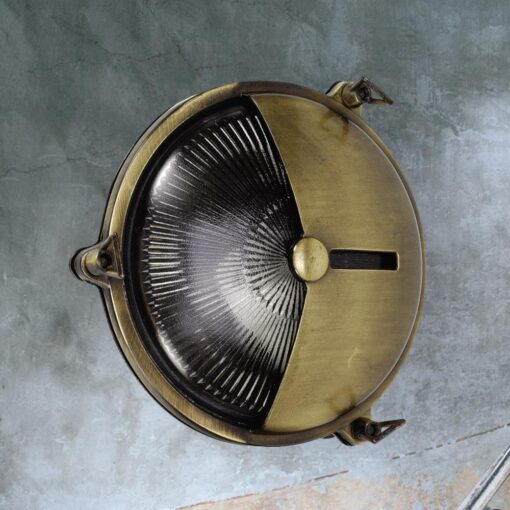 Antique Brass Vintage Round Bulkhead Light